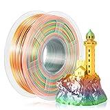 SUNLU Silk Rainbow Filament, Shiny Multicolor Gradient PLA+ Filament 1.75mm, 1kg(2.2lbs)/Spool 3D Filament for 3D Printer & 3D Pen, Shiny Silk Rinbow Ⅰ