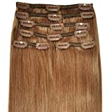 Luxury, FULL HEAD, Real Clip-in Hair Extensions - 100% Remy, Triple Weft, Thick Human Hair, (18 inches in length, 140g, 12 - Natural Auburn)