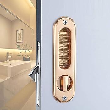 ZHFC Inicio Cocina baño Puerta corredera Cerradura Hardware Zinc aleación construcción Silent Mechanical Lock Seguridad Puerta de Madera Maciza Conjunto manija,Gold: Amazon.es: Hogar