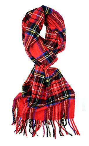 Plum Feathers Super Soft Luxurious Cashmere Feel Winter Scarf (Bright Red Tartan Plaid)