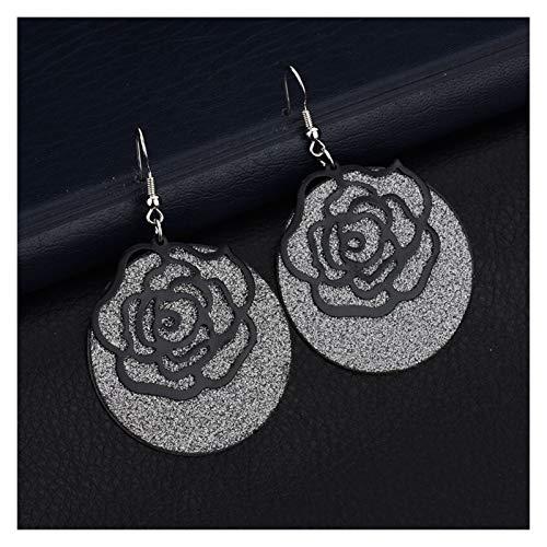 MURUI Eh Pendientes de Moda románticos Rose Ladies Pendientes Americanos Pendientes yc613 (Color : Black)