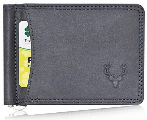 Allen Solly Men's Money Clip Leather Bi-Fold Slim Wallet with Card Holder & Money Clipper. (Dark Grey)