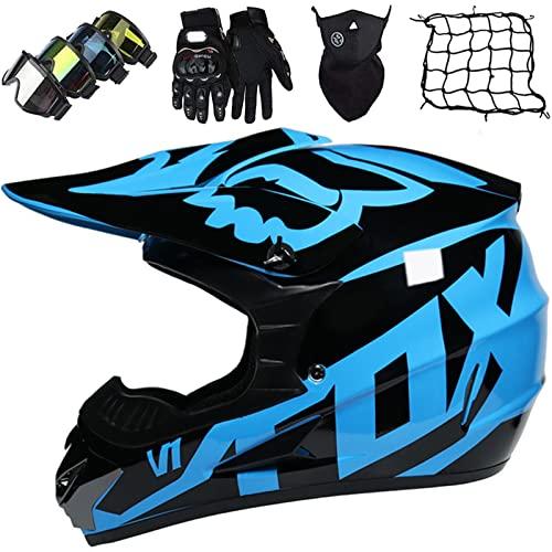 KILCVEM Cascos de moto para niños y adultos, juego de casco de motocross, con gafas y guantes de máscara de red elástica de cara completa MTB Off Road casco de protección - con diseño FOX - negro azul, M