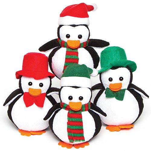 Baker Ross Mini Pinguini in Peluche per Bambini - Ideali per Calze della Befana (confezione da 4)