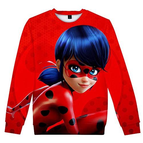 Miraculous Ladybug Sudadera Pareja 3D Animado Cuello Redondo suéter Unisex de impresión Digital Tops Populares Camiseta de Manga Larga Miraculous Ladybug Pullover