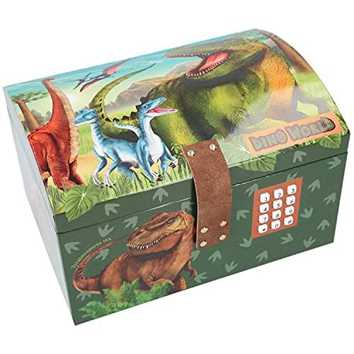 Depesche 11461 Dino World Schatztruhe mit Code, Sound und Licht, ca. 15,7 x 20 x 12,5 cm groß, ideal für kleine Kostbarkeiten und Geheimnisse