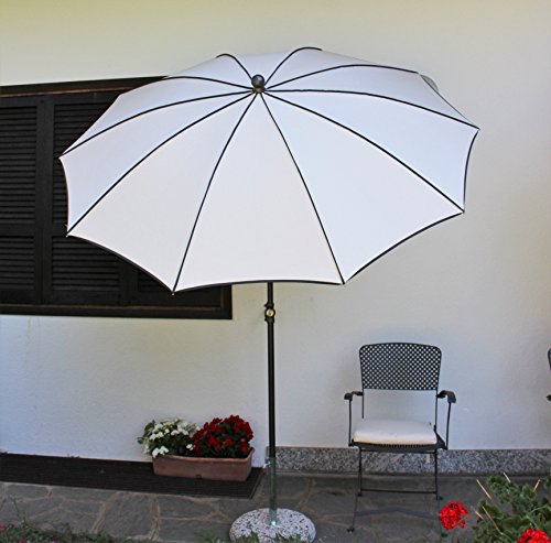 Maffei Art 45B Border, Parasol Rond diamètre cm 280. Made in Italy. Couleur Blanc.