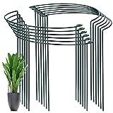 YAIKOAI 12 Stück Pflanzenstütz pfahl, Garten Blumenstütze UV-beständiger Halbrunder Ring käfighalter Rankhilfe Klettergitter für Tomaten Gemüse Blumen Pflanzenanbau Grenzstütze(40 x 24cm)