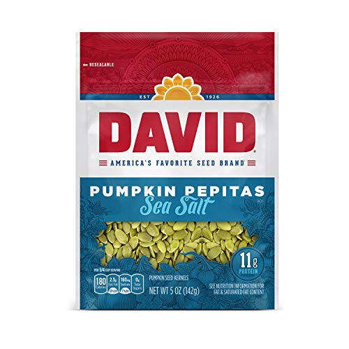 DAVID Sea Salt Pumpkin Pepitas Seeds, Keto Friendly, 5-oz. Resealable Bag