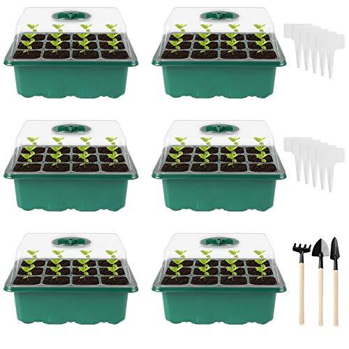 Ulikey Zimmergewächshaus Anzuchtkasten, 6 Stück Gewächshaus Anzucht Set, Anzuchtschale mit Gartengeräte und Pflanzenetikett, Setzling Starter Tabletts für Fensterbank Balkon Sämling Aufzucht