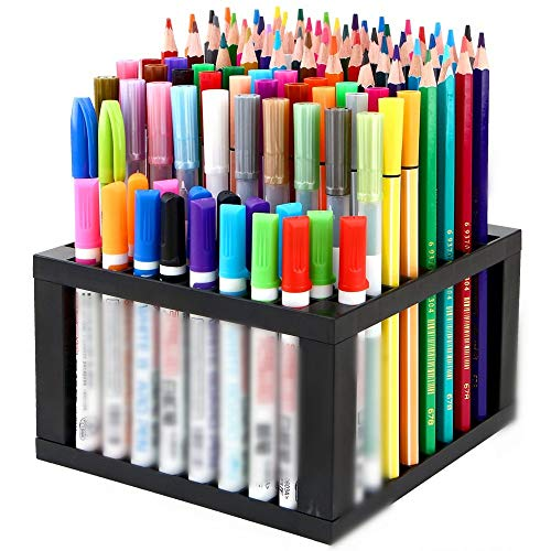 Schreibtisch Aufbewahrungsbox Große Kapazitäts-Feder-Organizer for Schreibtisch-Feder-Bleistift-Halter Hohe Kapazität (Color : Black, Size : 96 Holes)