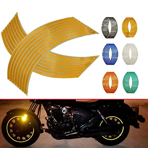4PCS Calcomanía Reflectante para Llantas de Ruedas de de 14, 17 o 18 pulgadas para Ruedas de Motocicleta Coche Bicicleta Bicicleta Noche Reflectante decoración de Seguridad Raya Universal (amarillo)