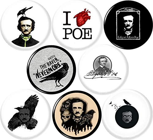 Edgar Allan POE 8 New 1' inch (25mm) Button pin Badge Quoth The Raven Nevermore Poet Baltimore