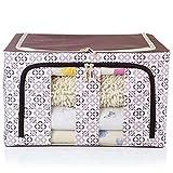 SXDHOCDZ Caja de almacenamiento plegable de tela Oxford de tres lados visible marco de acero, caja de almacenamiento para ropa de desechos, color marrón, 50 x 40 x 33 cm