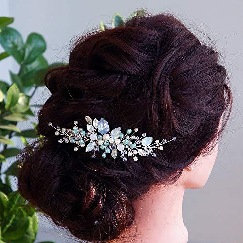Anglacesmade - Peineta para novia, cristal y perlas, color azul ópalo en la parte trasera, para bodas, bailes, fiestas, festivales, accesorios para el pelo para mujeres y niñas