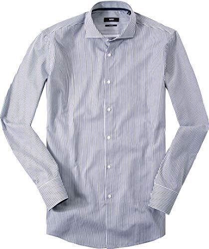 Hugo Boss Herren Hemd Twill Oberhemd Blau 43