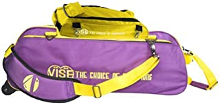 Vise Clear Top 3 Ball Tote Roller Bowling Bag with Shoe Bag- Purple/Yellow