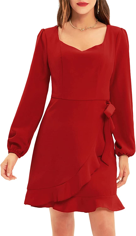 GRACE KARIN Women Lantern Long Sleeves Faux Wrap Dress Above Knee Length Sweetheart Neckline Ruffle Hem Elegant Dress