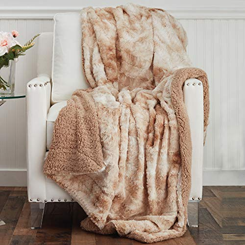 The Connecticut Home Company Faux Fur with Sherpa Reversible Throw Blanket, Many Colors, Super Soft, Large Plush Luxury Blankets, Warm Hypoallergenic Washable Couch or Bed Throws, 65x50, Beige Tie Dye