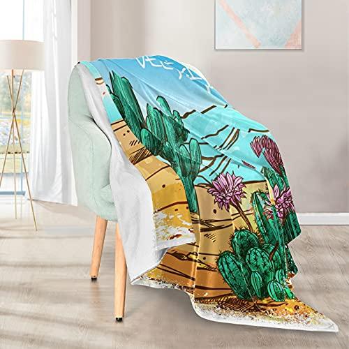 Mantas suaves y cálidas, 127 x 152 cm, ilustración de paisaje de cactus, desierto, manta corta de microfibra de felpa ligera, 1 para el hogar, cama, sofá, silla, viaje, camping, oficina