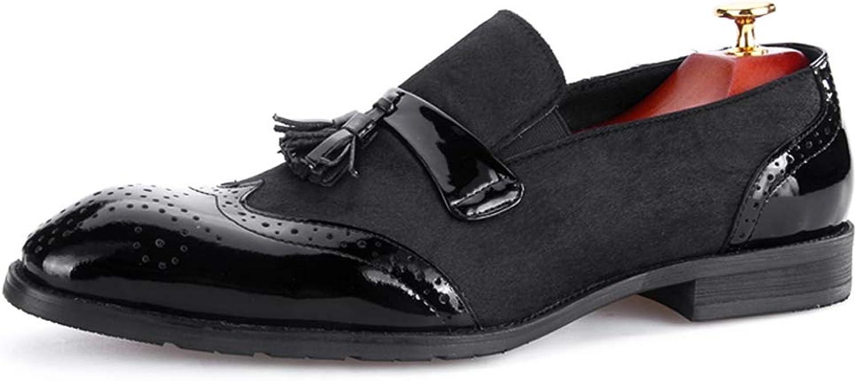 StickSeek New Patent Leather Fur Outside Men's Formal Dress Loafers Vintage Slip on Man Wingtip Brogue shoes
