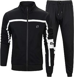 MANLUODANNI Men's Athletic Full Zip Fleece Tracksuit Sports Sets Casual Sweat Suit
