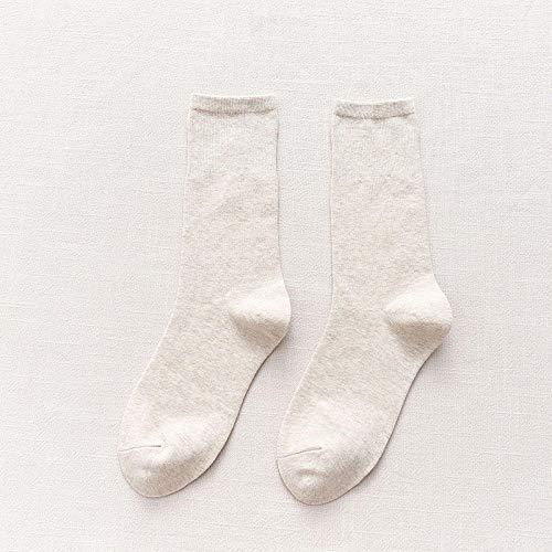XINDUO Calcetines Invierno Mujer Calcetines Térmicos Coloridos,Calcetines de algodón Simple Color Puro 5 Piezas-Beige,Calcetines de algodón para Mujer