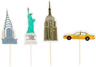 Flairs New York Happy Birthday Decorations Cup Cake Toppers Party Props (Pack of 24 Cup Cake Toppers, New York City Theme)