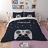 FAITOVE Gamer Duvet Cover Set 3 Piece Childhood Video Start Game Bedding Cover Set Kids / Adult Quilt Cover 100% Microfiber, Queen (No Comforter)