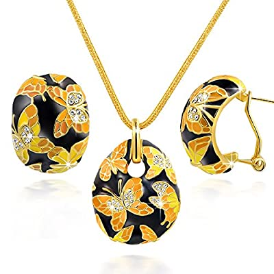 QIANSE Spring of Versailles Gold Plated Handcrafted Enamel Butterfly Jewelry Set, Gift Packing & Free Delivery!