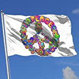 xianxin Flagge/Fahne Hippie Flower Power Peace Sign 3x5 Foot Flags Outdoor Flags 100% Single-Layer Translucent Polyester 3x5 Ft