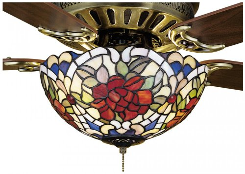 Meyda Tiffany Style Light Shade for a Ceiling Fan foral rose pattern
