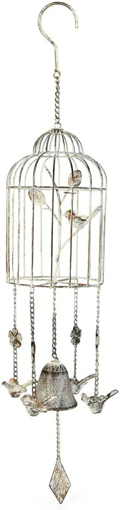 Sungmor 70CM/28IN. Tall Cast Iron Wind Chime - Lovely Birdcage Hanging Bells - Vintage Style Crisp Sound Decorative Bells - Fantastic & Beautiful Hanging Ornaments for Home Garden Patio Yard Decor
