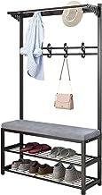 MU Stojak na buty 3 w 1 stojak na ubrania ławka na buty przedpokój korytarz drzewo półka do przechowywania półka z wyścieł...
