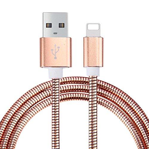 LoongGate® 5V 2.1 A Cable de datos del USB del resorte del tubo flexible metálico de la aleación de aluminio para Samsung, IPhone (iluminación, oro de Rose)
