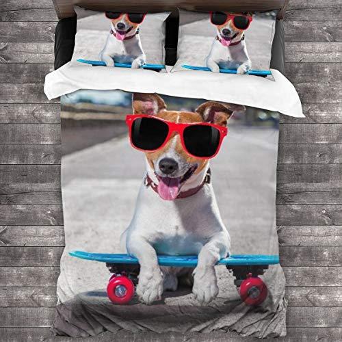 AIMILUX Jack Russell Terrier Hund reitet sehr schnell mit Geschwindigkeit EIN Skateboard als Skater,Mikrofaser Bettwäsche 135x200cm,Reißverschluss Bettbezug 2 Kissenbezug 50x80cm