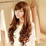 YOPDNE Japon et Corée du Sud Perruque Perruque Mme Oblique Frange Grosse Vague Cheveux Longs Perruque Or