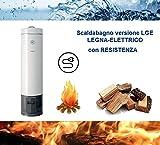 Calentador de agua a leña/eléctrico por acumulación (80litros), de acero con recubrimiento vítreo porcelanizado Styleboiler