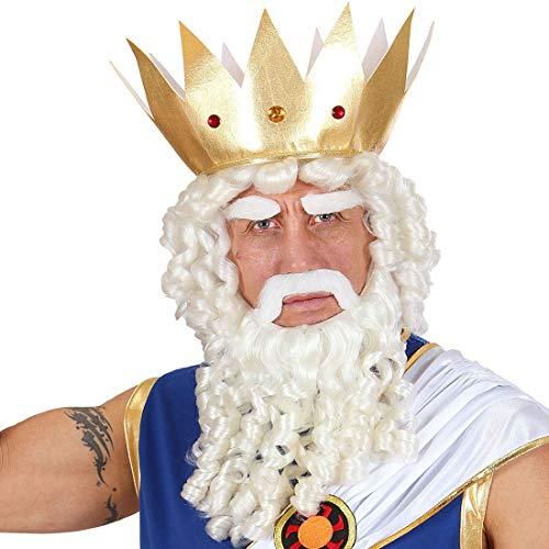 Extraordinaria Peluca de Caballero Dios Griego Zeus/Blanco/Accesorio Disfraz Aquaman para Adulto/Insuperable para Festival y Fiestas de Disfraces
