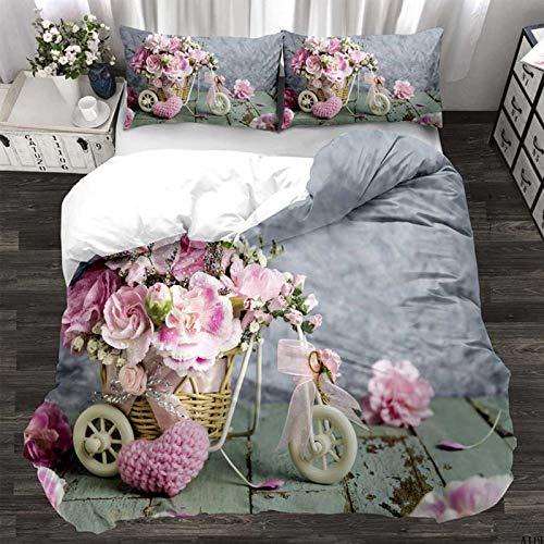 Juego de ropa de cama de estilo retro de flores 2/3 piezas, funda de edredón y funda de almohada de microfibra para adultos (180 x 220 cm, #C)