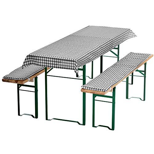 DILUMA Auflagen-Set für Mini Bierzeltgarnitur Kariert 3-teilig Tischdecke 130 x 70 cm für 110 x 50 cm Biertische und 2 gepolsterte Bankauflagen 110 x 25 cm, Farbe:Grau