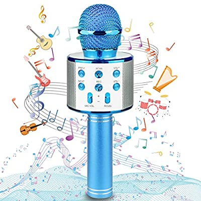 Karaoke Wireless Microphone, Wireless Bluetooth Microphone, Portable Speaker Karaoke Machine, Home KTV with Record Function, Compatible with Android iOS Devices (Blue)