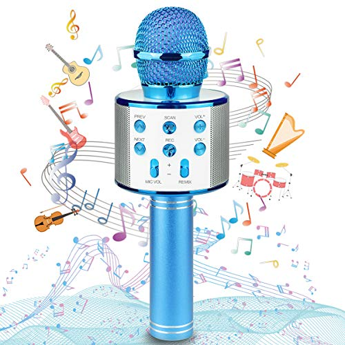 Ranphykx Wireless Bluetooth Karaoke Microphone for Kids, Hottest Birthday Presents Toys for 9 10 11 12 Years Old Boys Girl(Blue)