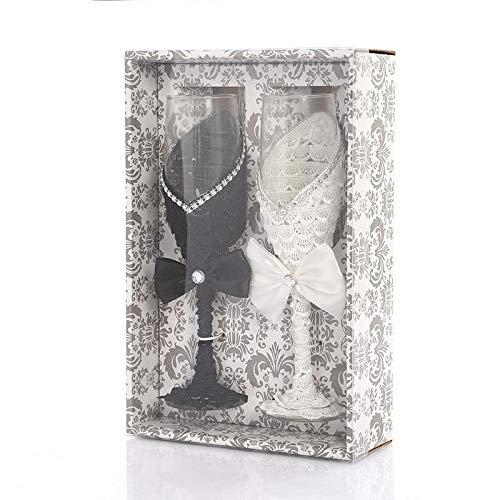 Gafas de flautas de champán del partido cristalino personalizado del boda de 2 piezas Tostado regalo de cristal copa de cristal Grabado Aniversario Jarra de cerveza ( Color : Black and white )