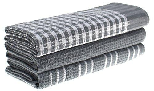 Lot de 3 torchons Classiques, 100% Coton Naturel - Absorbants et Non Pelucheux - Lavables en Machine - 45 x 65 cm - Blanc avec Rayures Gris