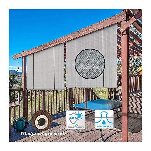 Persianas exteriores enrollables para patio 95% Protección UV Divisor de privacidad permeable Decoración Valla Cortina de poliéster Persianas Gazebo para jardín, 46 Tamaños (Color: Gris, Tamaño: 90