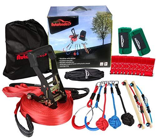 Autofonder Ninja Slackline Monkey Bar Kit Outdoor Baum Hängende Hindernisse Linie Zubehör Spielset für Kinder