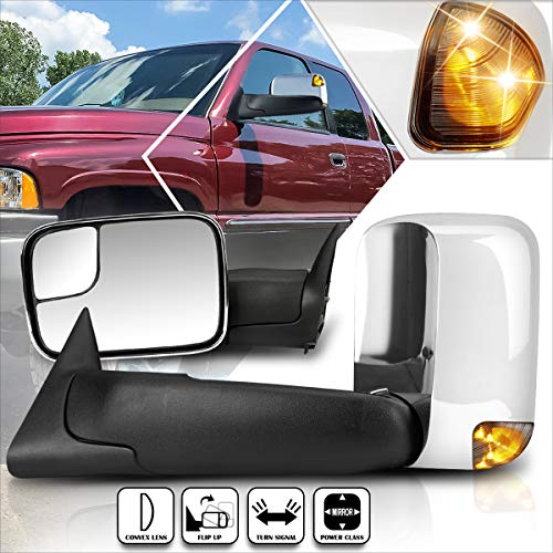 Compatible with Dodge Ram 1500-3500 94-97 Power Chrome Side Towing Mirror w/Smoked LED Lamp