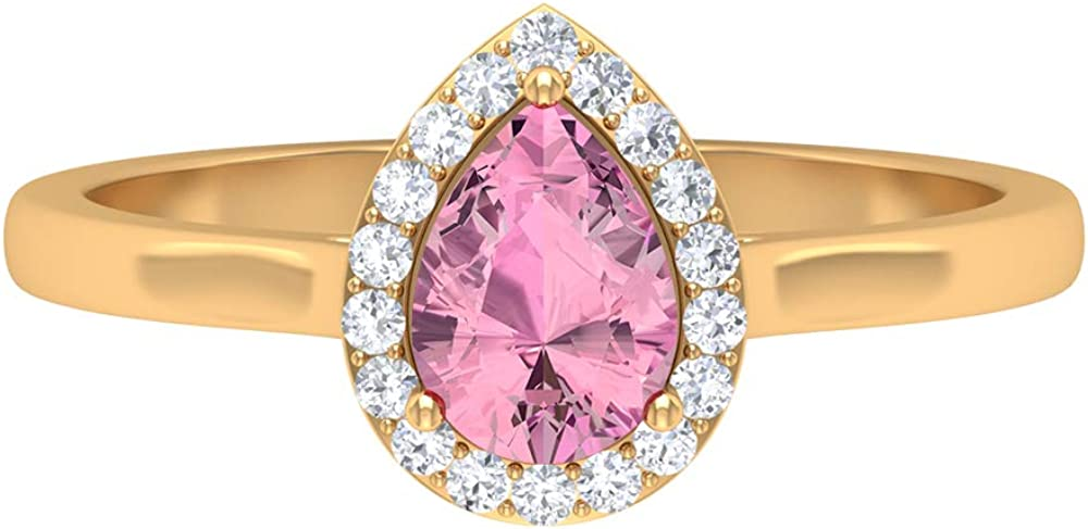 5X7 MM Pear Cut Pink Tourmaline Denver Overseas parallel import regular item Mall Ring T Halo HI-SI Diamond