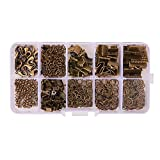 PH PandaHall About 440Pcs Jewelry Findings Sets with Fold Over Crimp Ends Ribbon Ends Twist Chains and Brass Lobster Claw Clasps Antique Bronze